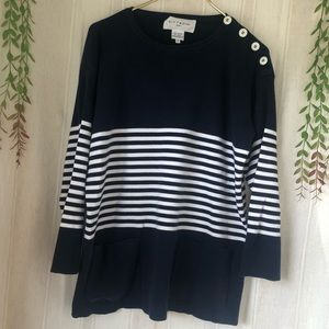 Adrienne Vittadini Sport Navy Pocket Sweater